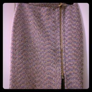 J. Crew Metallic Multicolor Zip-Front Skirt